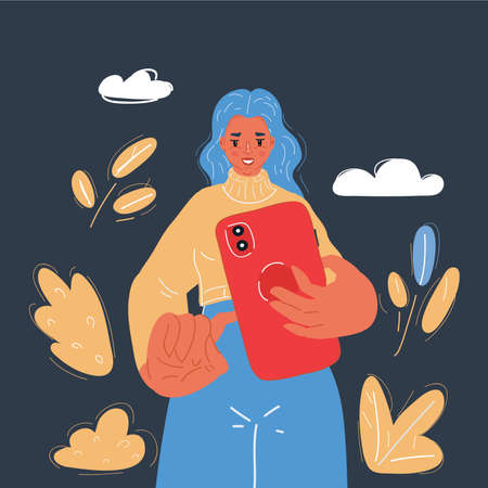 Vector illustration of Giant female hands holding tiny woman. Support and control concept of health care on dark backround.
