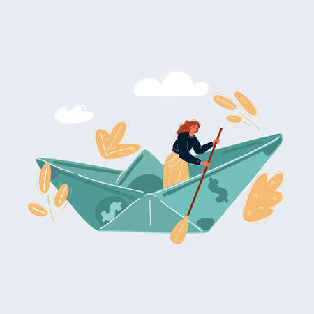 Vector illustration of woman sailing on dollar banknonte ship