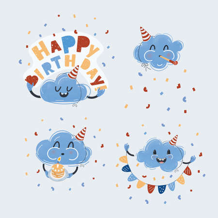 Vector illustration of Set celebration elements. Clounds charater congratulation on birthday on white backround.