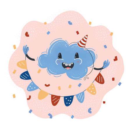 Vector illustration of cloud character celebrating party.