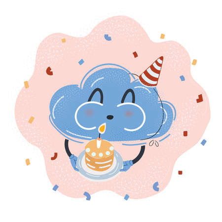 Vector illustration of Cloud character celebrate with birthday Cake Vettoriali