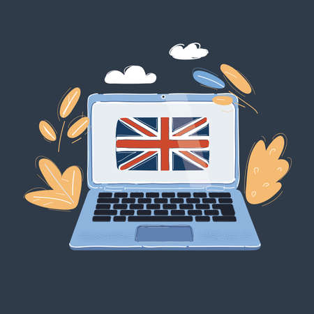 Vector illustration of Learn english concept - laptop with UK flag on screen on dark backround.