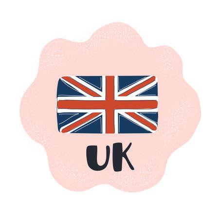 Vector illustration of British UK Flag. Hand drawn object