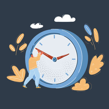 Vector illustration of Two businessman are trying to slow the time Ilustração
