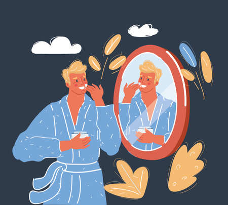 Vector illustration of Man take care of him skin in front of the mirror on dark backround.