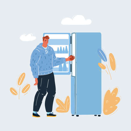 Vector illustration of man is cleaning the fridge