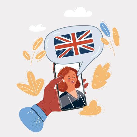 Vector illustration of english language online course or school. Female teachers face on sceen of phone Ilustração
