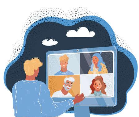Vector illustration of conference concept webinar and training on the web on dark backround. Ilustração