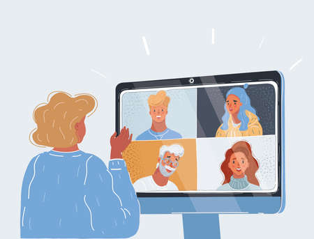 Vector illustration of Video call or conference. Woman on screen talking. Online communication via internet. Business meeting on distance. Vettoriali