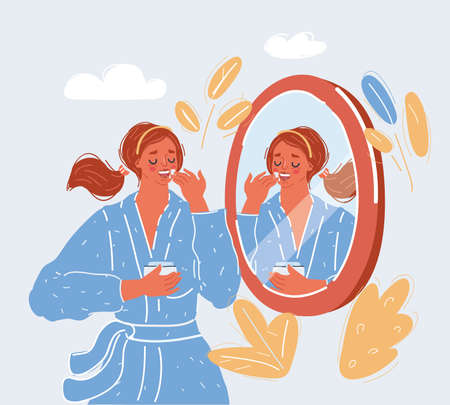 Vector illustration of woman take care of him skin in front of the mirror on white backround.