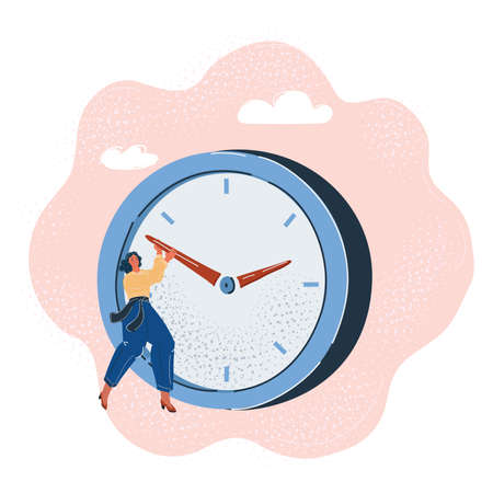 Vector illustration of Deadline concept. Businesswoman pushing the big clock arrow to delay.