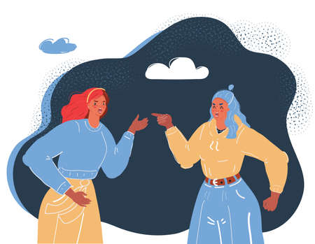 Vector illustration of two women fighting and pointing finger at each other. Conflict concept on dark backround.