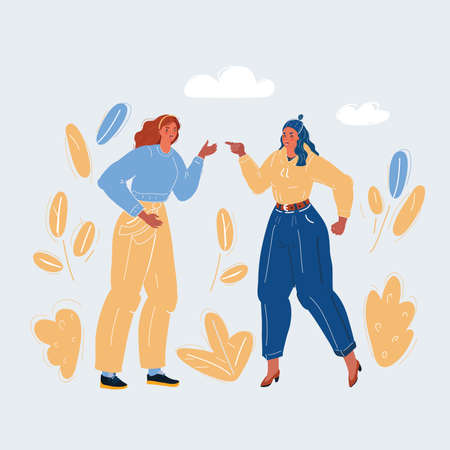 Vector illustration of two women fighting and pointing finger at each other. Conflict concept on white. Vettoriali