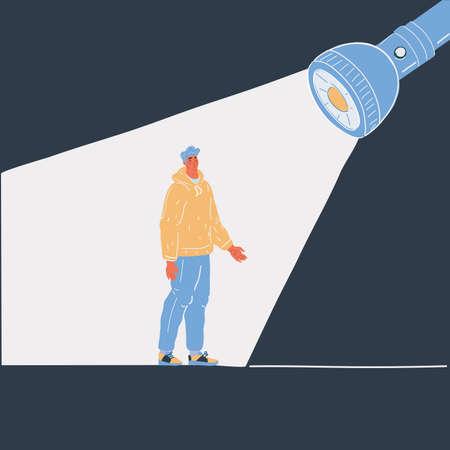 Vector illustration of man stand under flashlight in dark