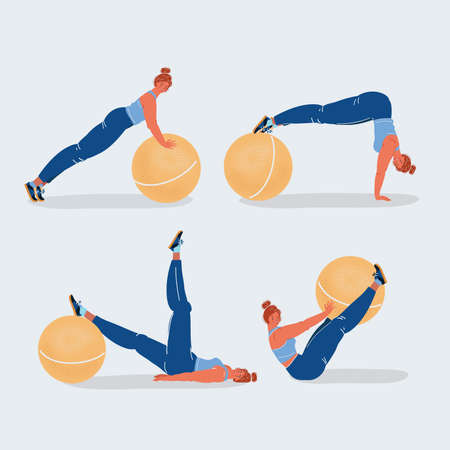 Vector illustration set , woman showing exercises pose with a ball Vettoriali