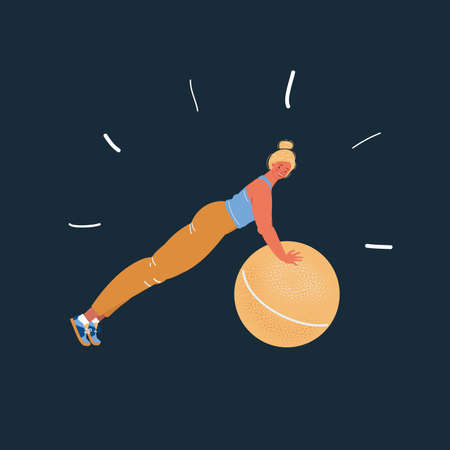Vector illustration of set of woman showing exercises with big ball on dark
