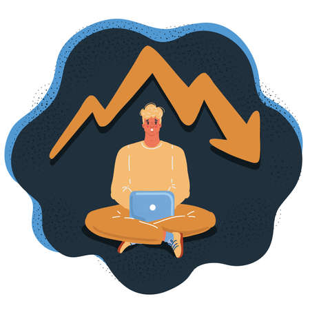 Vector illustration of anxious man working with Laptop on dark backround. Ascending chart