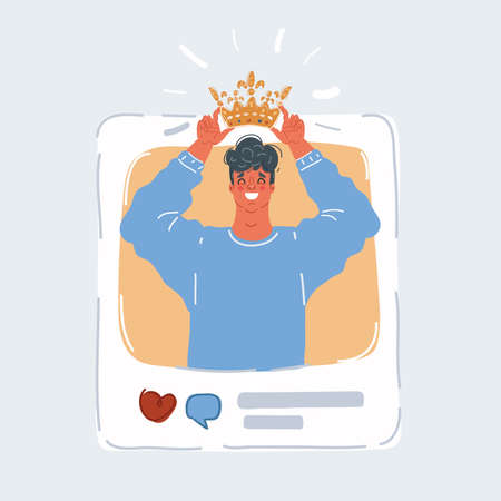 Vector illustration of social media addiction. Narcissist to attract the attention in social media, his blog. Man is putting crawn on his head on online post. Vettoriali