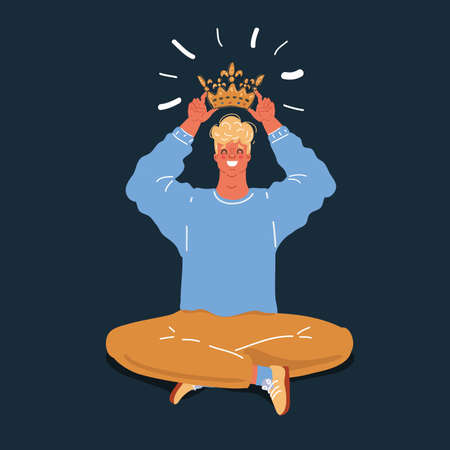 Vector illustration of Narcissist putting on his head golden crown on dark backround.