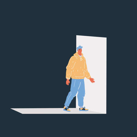 Vector illustration of man are going to an open door on dark backround. Imagens - 163941723