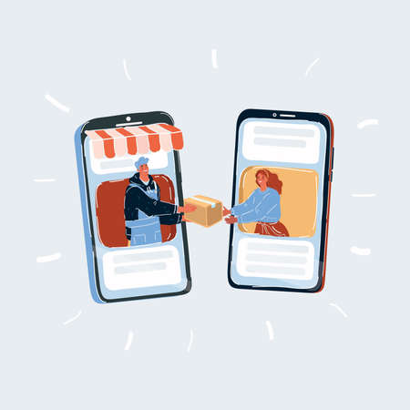 Vector illustration of fast delivery service for shopping online isolated on white background. Man and woman on phone screen. Box is passed from hand to hand on white backround.