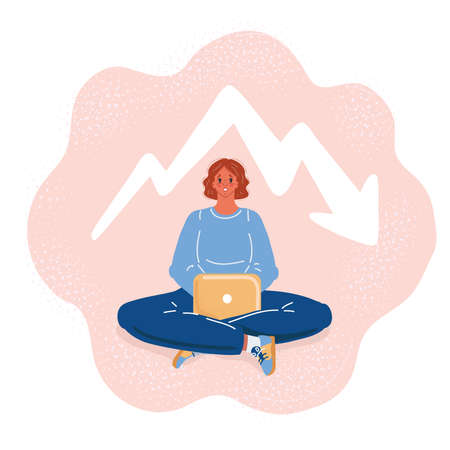 Vector illustration of anxious woman working with Laptop on dark backround. Ascending chart Ilustração