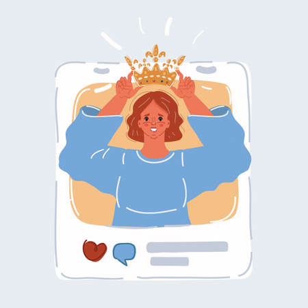 Vector illustration of social media addiction. Narcissist to attract the attention in social media, his blog. Woman is putting crawn on his head on online post.