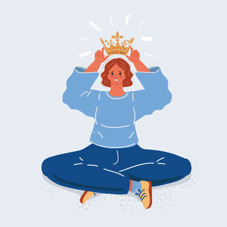 Vector illustration of Narcissist putting on his head golden crown on white backround.