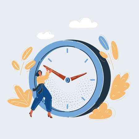 Vector illustration of woman and trying to stop time.