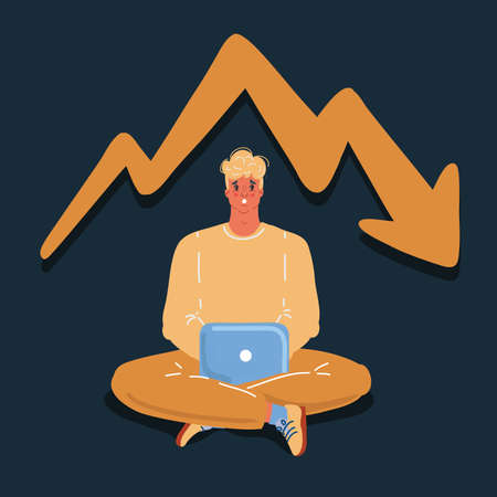 Vector illustration of man working on laptop. Bad news, panic, financial failure. Character on dark bakround.