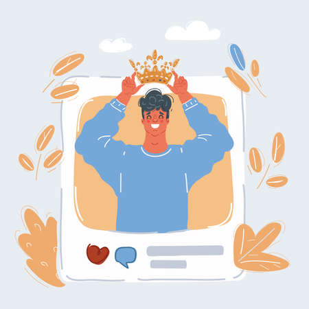 Vector illustration of man thinks hes a king of social media blog. Crown on his head in post.