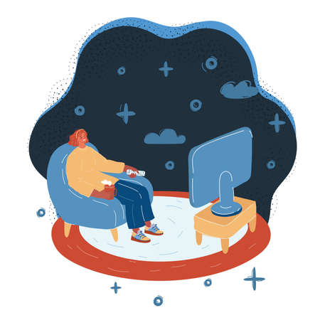 Vector illustration of woman in an armchair watches TV on white.