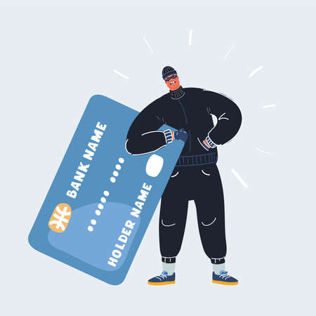 Vector illustration of Robber man stole credit card. Stealing money online. Isolated on white vector illustration