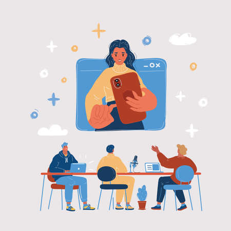 Vector illustration of video chat, phone call, woman in online conference use her phone.
