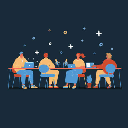 Vector illustration of conferencing and talking people at big table on dark
