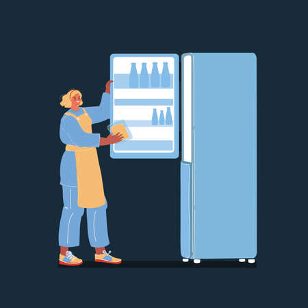 Vector illustration of cheerful young woman taking piece of cheese out of fridge on dark backround.