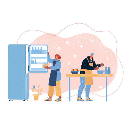 Vector illustration of Couple Cooking at home.