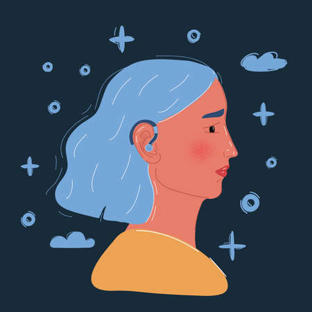 Vector illustration of woman with hearing loss is wearing a hearing aid