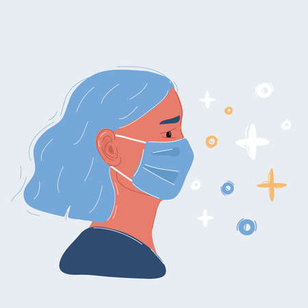 Vector illustration of surgeon in mask on white