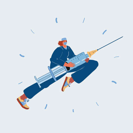 Vector illustration of runing female doctor with syringe on dark background.