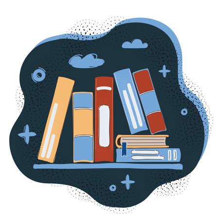 Vector illustration of Stack of Multicolor Books on dark Background Ilustrace