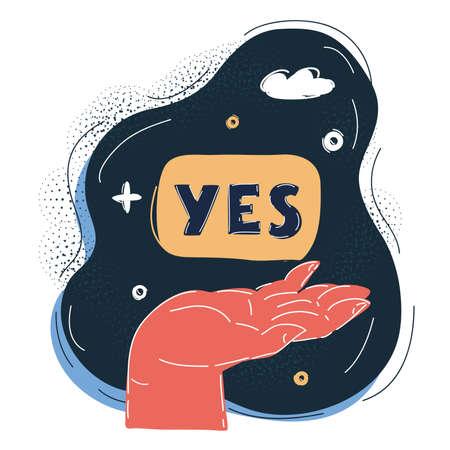 Vector illustration of Yes on dark Ilustrace