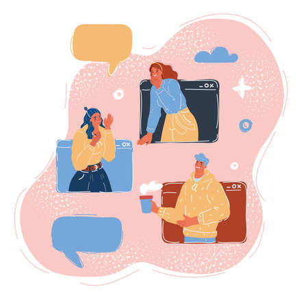 Vector illustration of woman and man in massage window.