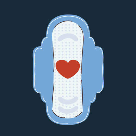 Vector illustration of sanitary towel on dark