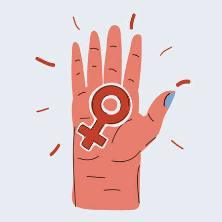 Vector illustration of female icon on hand