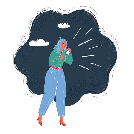 Vector illustration of woman sneezing into a tissue on dark backround. Ilustrace