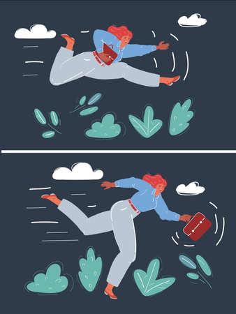 Vector illustration of woman running. Ilustrace