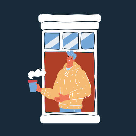 Illustration of man drinks coffee and looks out window on dark backround.