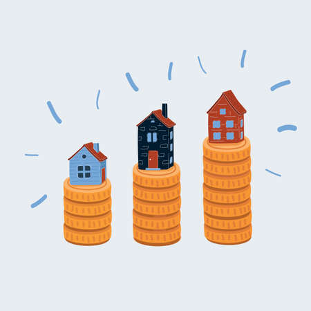 Vector illustration of gold coins money stack with house on it. Object on white background.