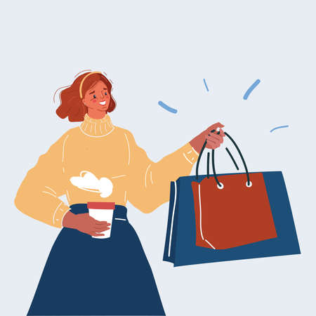 Vector illustration of Woman with shopping bags and coffe in her hands